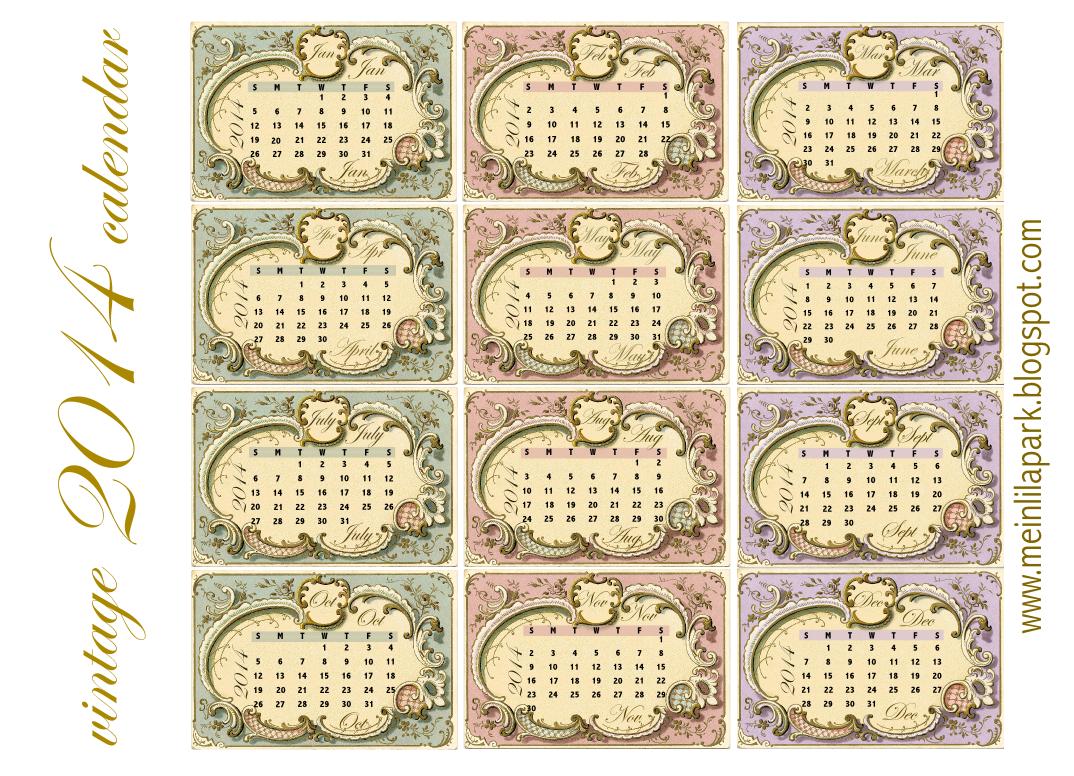 Calendar Vintage : Free printable vintage calendar cards ausdruckbare