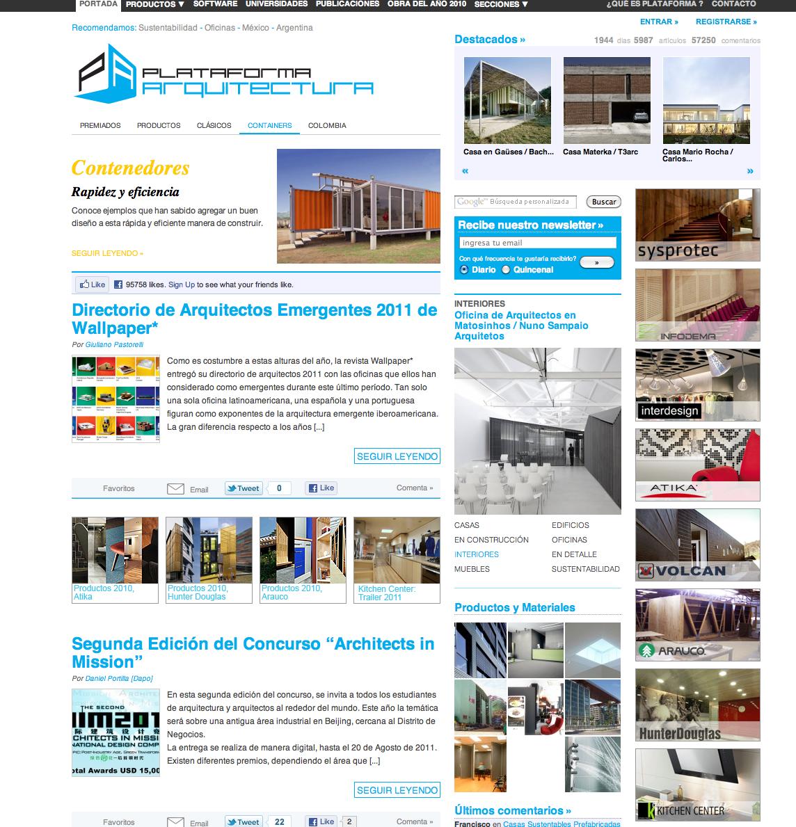 Infointeractivo an lisis a 10 sitios web arquitectura for Arquitectura sitio web