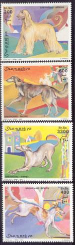 2003年ソマリア民主共和国 アフガン・ハウンド サルーキ グレーハウンド ボルゾイの切手