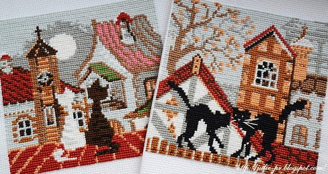 Riolis 611, Riolis 613, кошки на крыше, кошки осень риолис, риолис кошки весна, вышивка, вышивка крестом