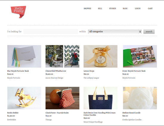 Hello Pretty - an online marketplace for independent South African creatives