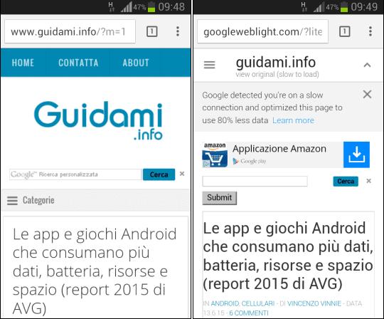 Guidami.info in Google Web Light