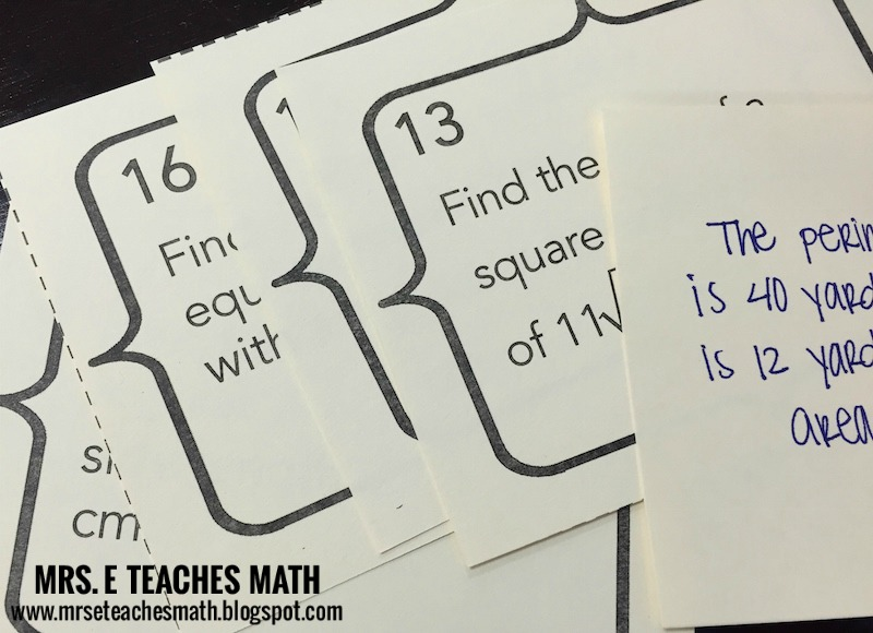 "Mrs. E Teaches Math:  Reviewing with Speed ""Math-ing"" - my new favorite task card activity!"