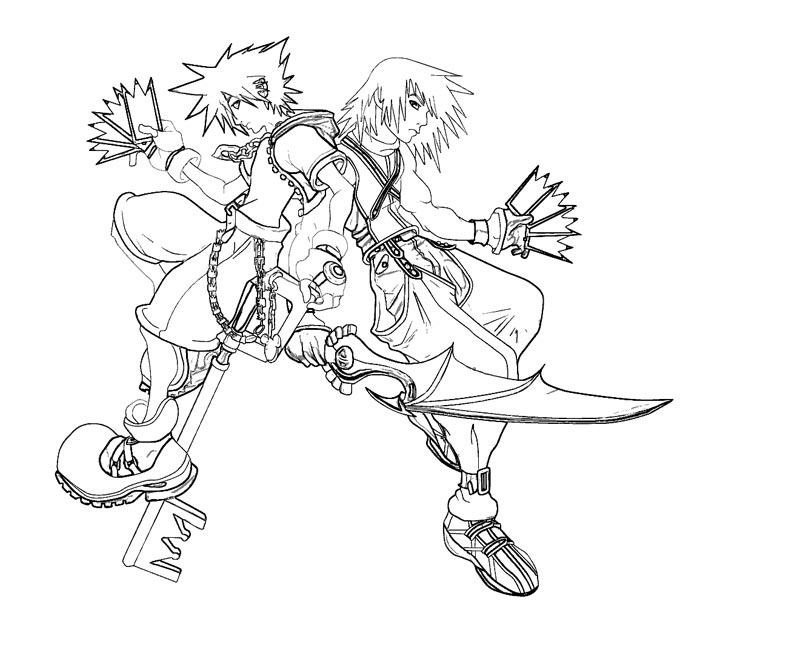 How to draw riku pictures for Kingdom hearts printable coloring pages