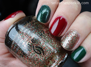 Red, Green, and Gold Nails