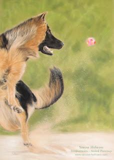 Hundeportrait Deutscher Schäferhund, Tierportrait von Simone Hofmann mit Pastellkreide malen lassen.