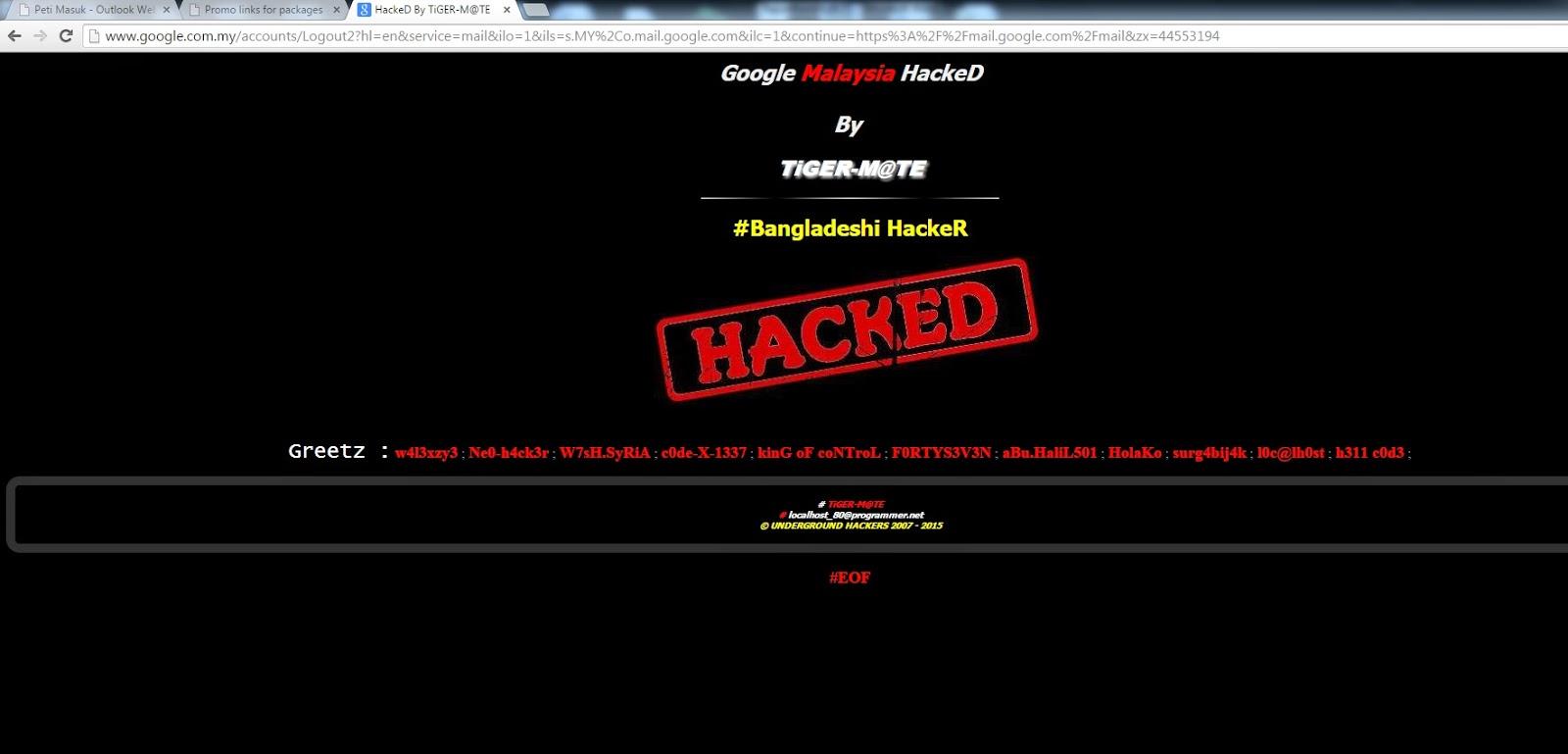 Google Malaysia kena Hacked petang tadi