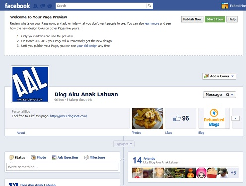 Facebook Fan Page Timeline Preview