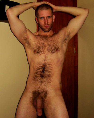 Naked hairy men standing
