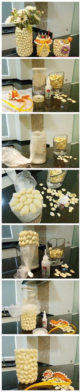 Vasos feitos com casca de pistache