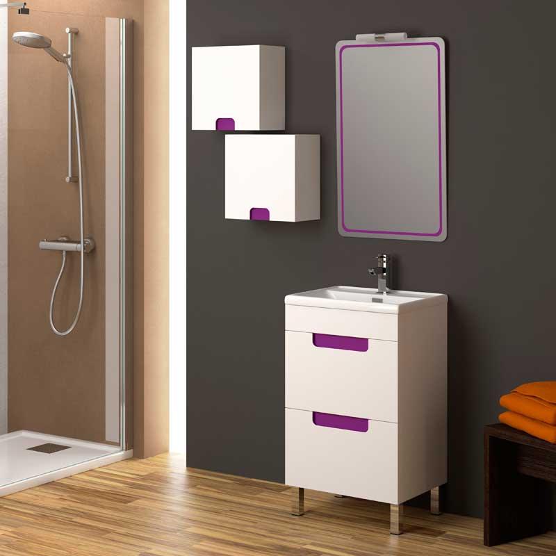 Ba o suelo gris pared blanca for Mueble lavabo 50 ancho