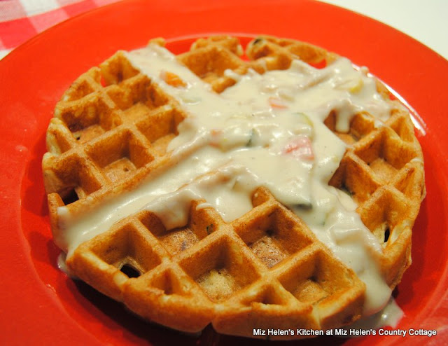 Garden Waffle with Italian Cheese Sauce at Miz Helen's Country Cottage