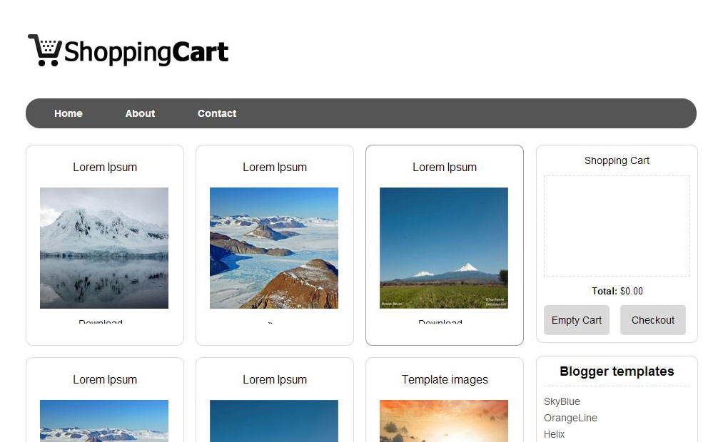 Template Blog Toko Online Shopping Cart