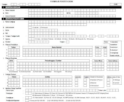 Formulir Pendataan Peserta Didik Untuk SD