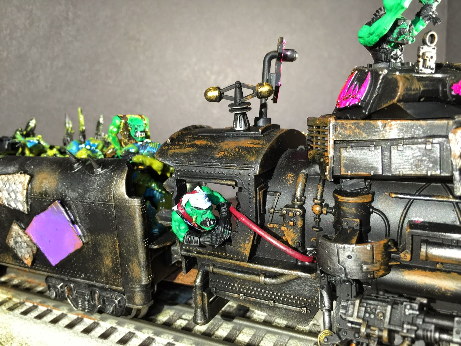 Ork Engineer; Ork Train Engineer; Ork Steam Train; Pink Orks; Battle Gaming One