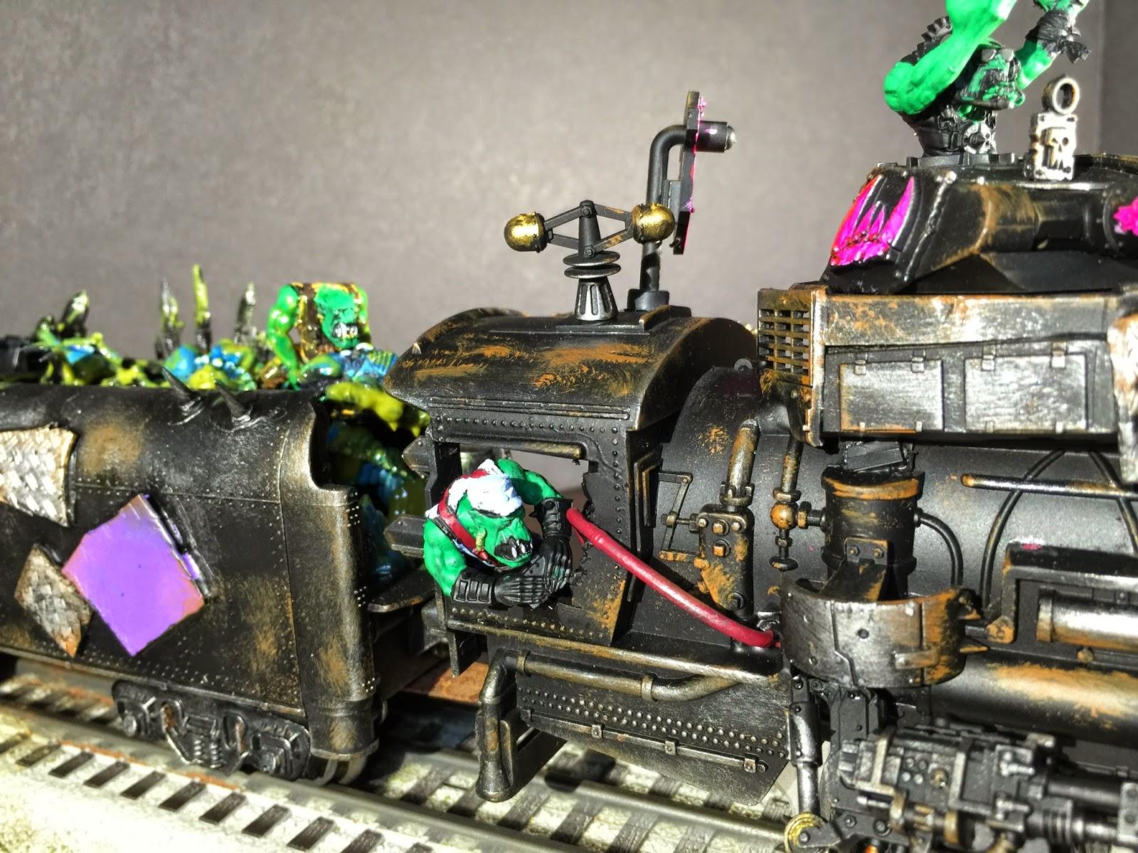 Ork Engineer; Ork Train Engineer; Ork Steam Train; Pink Orks; Battle Gaming One