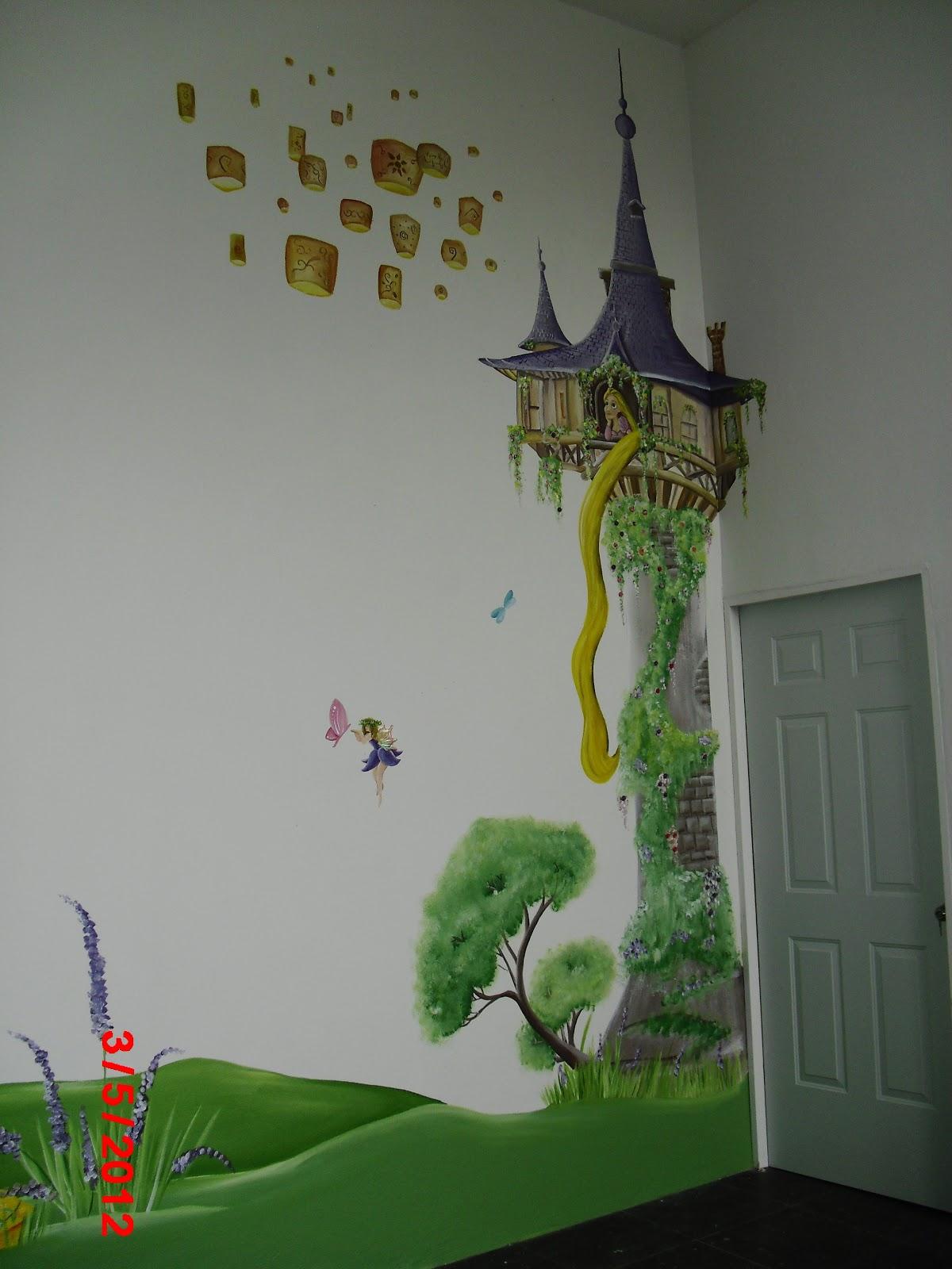 Murales infantiles rapunzel en su torre dormitorio for Murales infantiles nina
