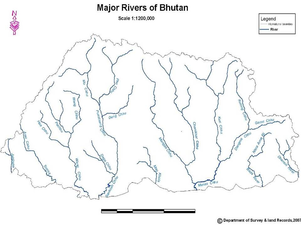 Karma Wangda Tokorongpa BHUTAN MAP SHOWING THE MAJOR RIVERS SYSTEM - River system map