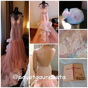 Gaun Pengantin Brokat Pink Salem