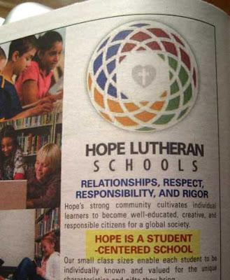 Add for a school, reading Hope is a School (linebreak) -Centered School