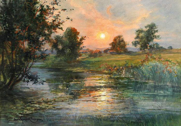 Anna Gardell Ericson - Soluppgang over landskap med vatten