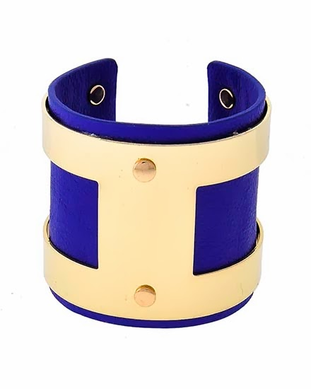 blue leather cuff bracelet