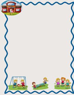 Caratula para cuadernos de niños de kinder - Niños jugando en la escuela