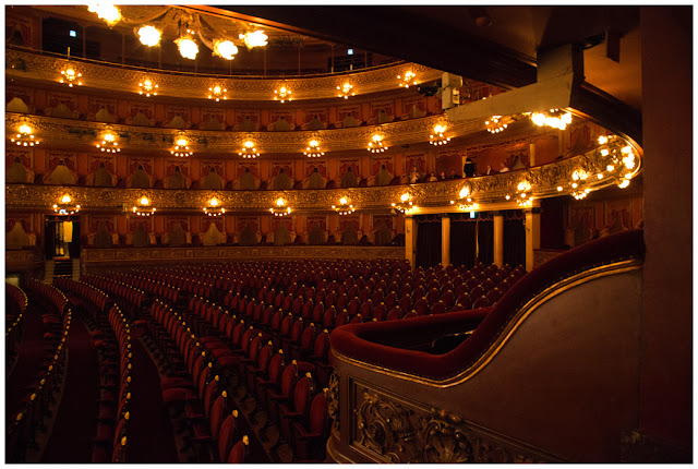 A photograph of the Teatro Colon in Buenos Aires, Argentina