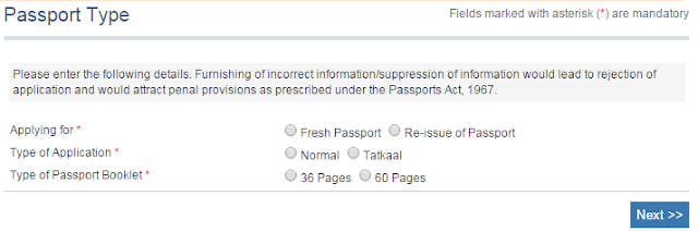 Step1: Apply for Fresh Passport\Re-issue Passport online