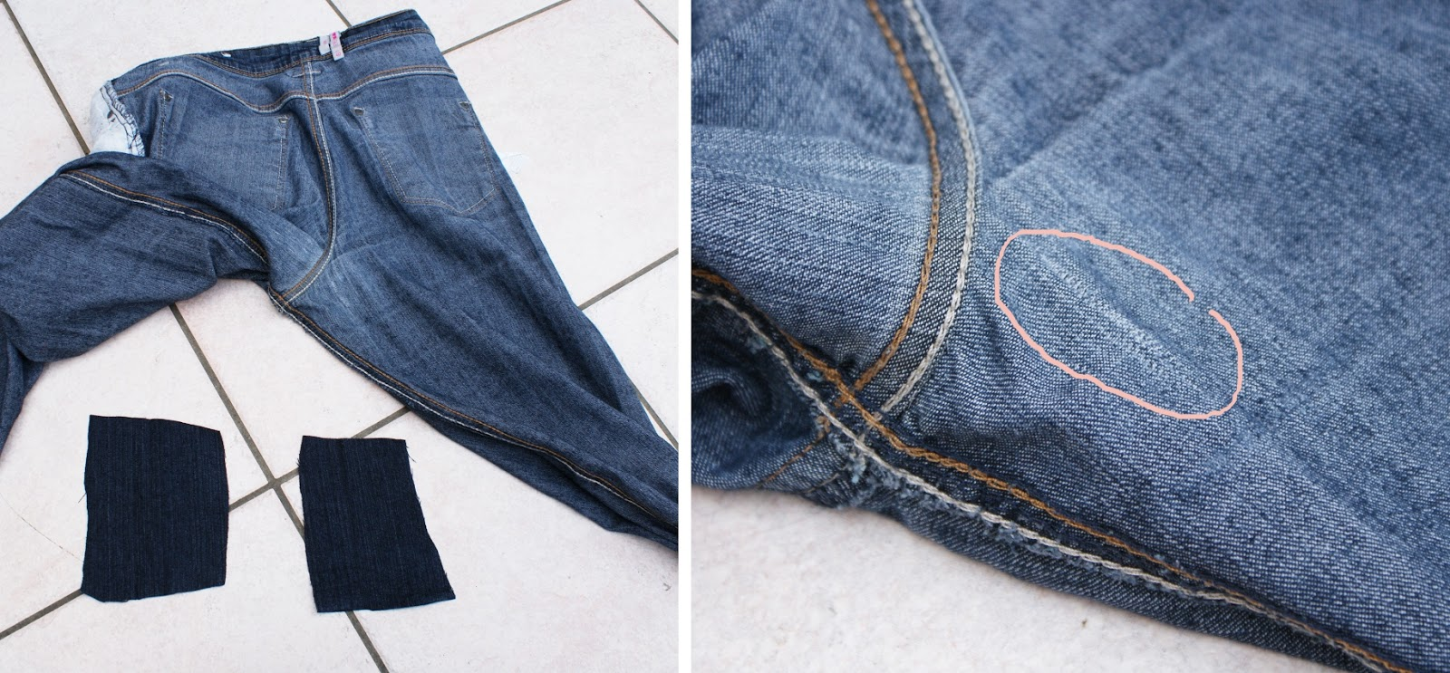 How to sew a hole in jeans