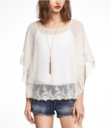 Express poncho, embroidered chiffon caftan top, lace