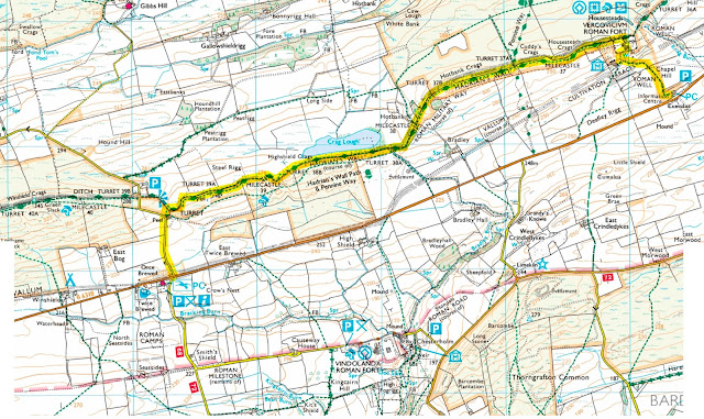 The best walking route for Hadrian's wall is on the above map from Once Brewed to Housesteads