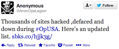 Thousands of sites hacked, defaced and down during #OpUSA. Here's an update list.