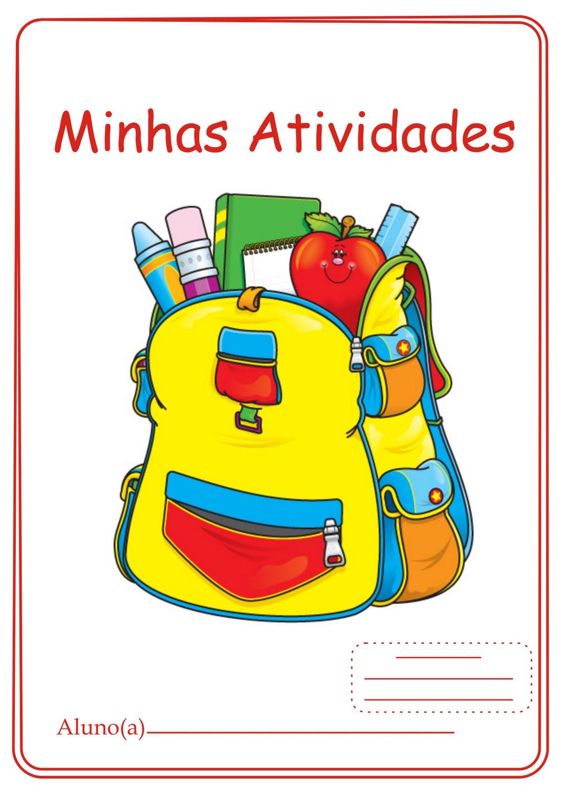 Capas para Cadernos de Atividades Pastas Classificadores e Avaliações