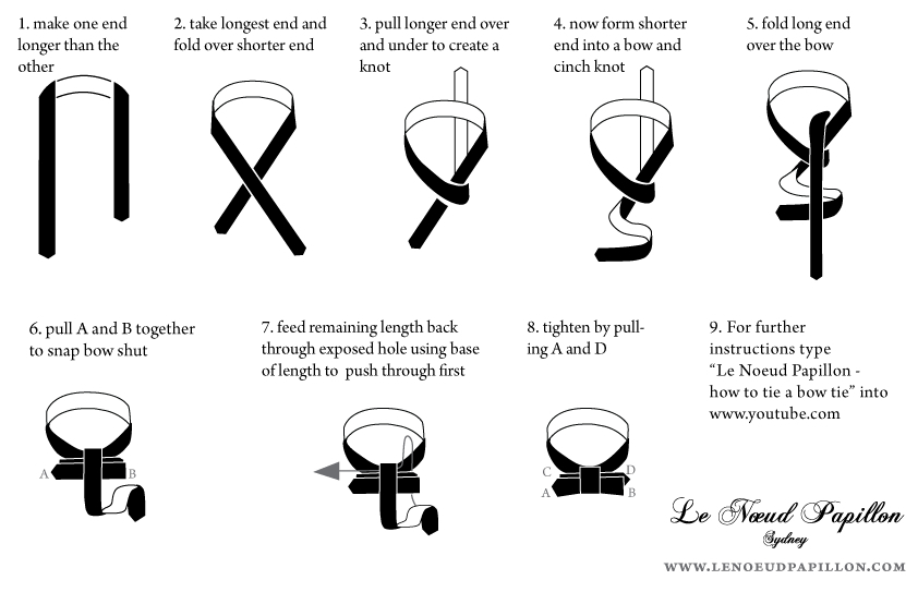 Le noeud papillon of sydney for lovers of bow ties how to tie a how to tie a bow tie instructions le noeud papillon sydney ccuart Gallery