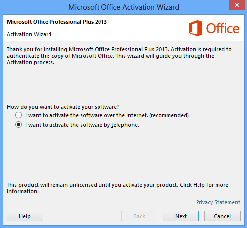 office professional plus 2013 activation by phone