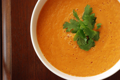 Carrot Ginger Lime Soup with Sweet Potato Hummus