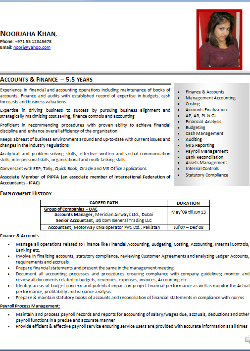 Awesome Uae Accounting Resume Contemporary - Best Resume Examples ...