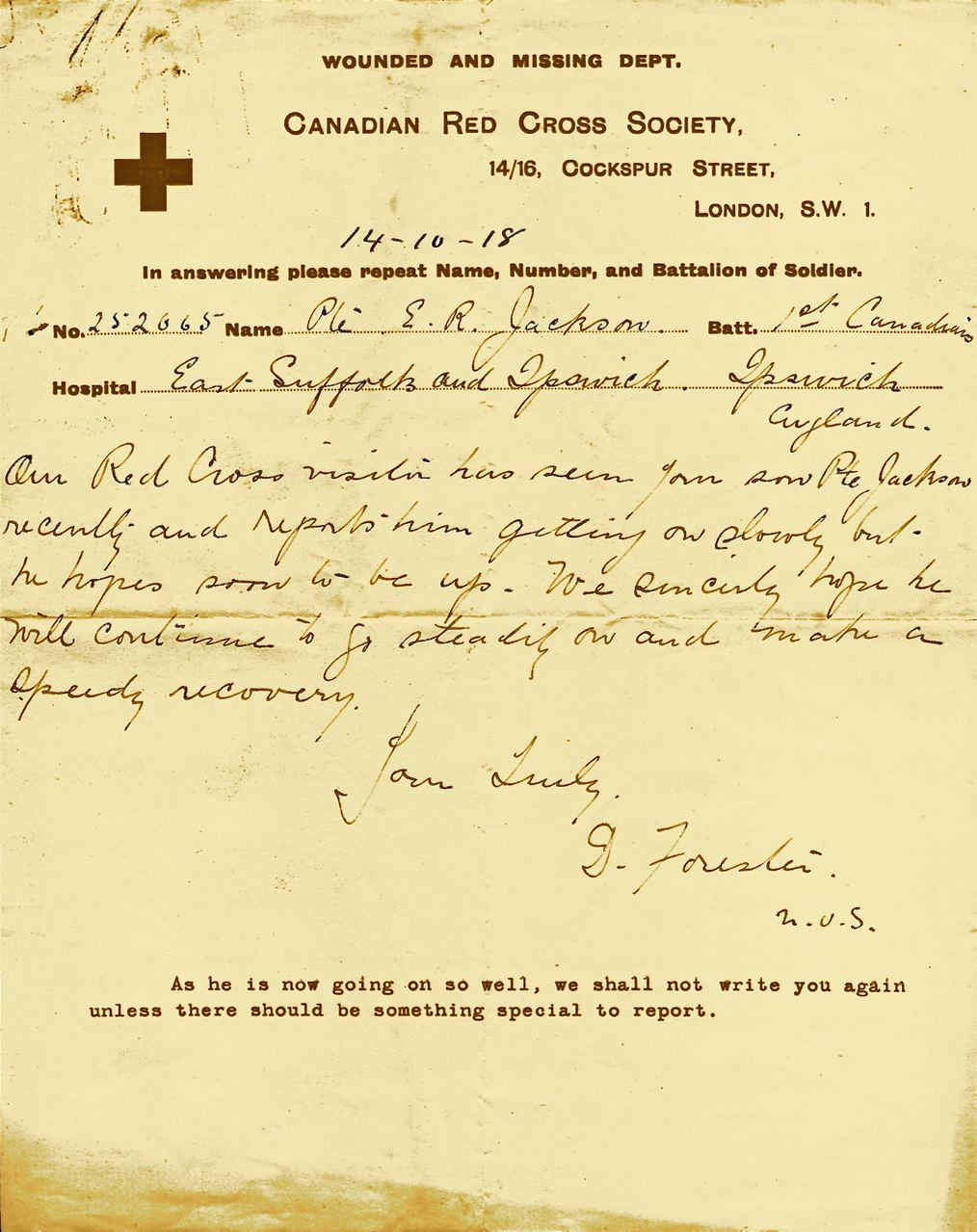 Letters From World War One October 14 1918 Canadian Red