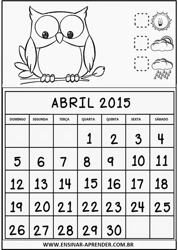 CALENDÁRIOS 2015 PARA CADERNO OU AGENDA TEMA CORUJINHAS