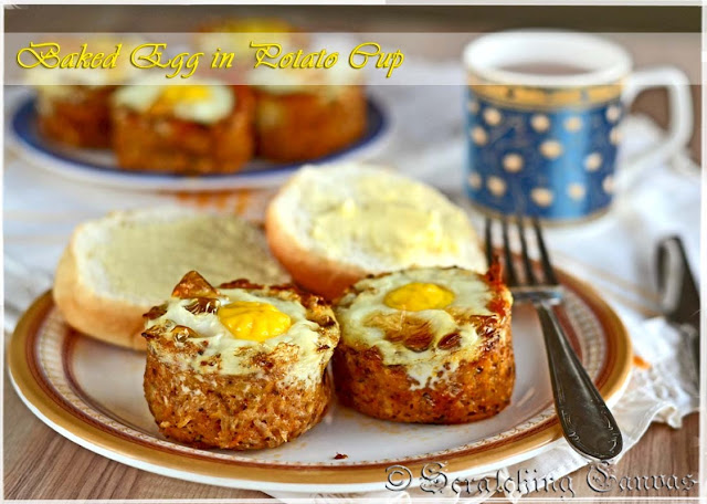 Easter breakfast with baked egg in cheesy potato cup
