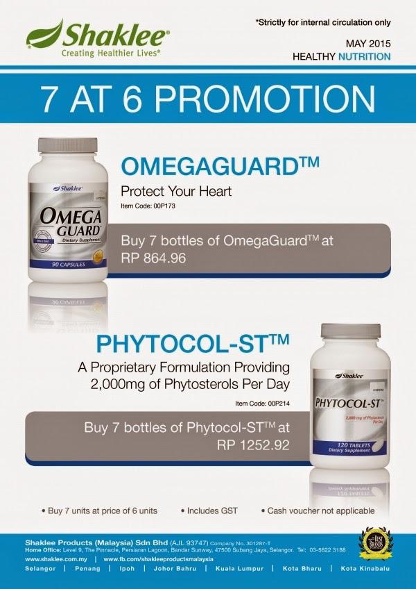 PROMOSI SHAKLEE MEI 2015: OMEGA GUARD & PHYTOCOL-ST (BELI 6 PERCUMA 1)