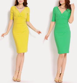 Half-Sleeve V-Neck Sheath Dress (Gold Yellow/Fresh Apple Green)