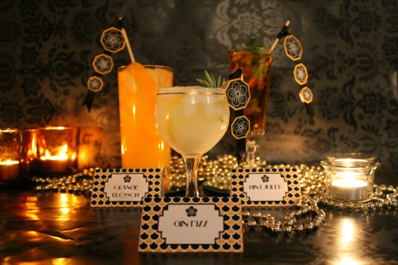 DIY Free Printable Art Deco Cocktail Party Tags