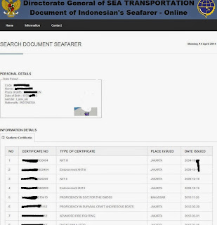 Indonesian Seafarer Database Pelaut.dephub.go.id