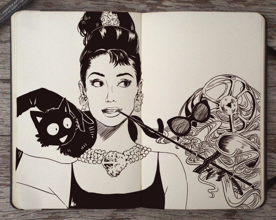 10-Happy-bday-Audrey-Hepburn-Gabriel-Picolo-365-Days-of-Doodles-www-designstack-co