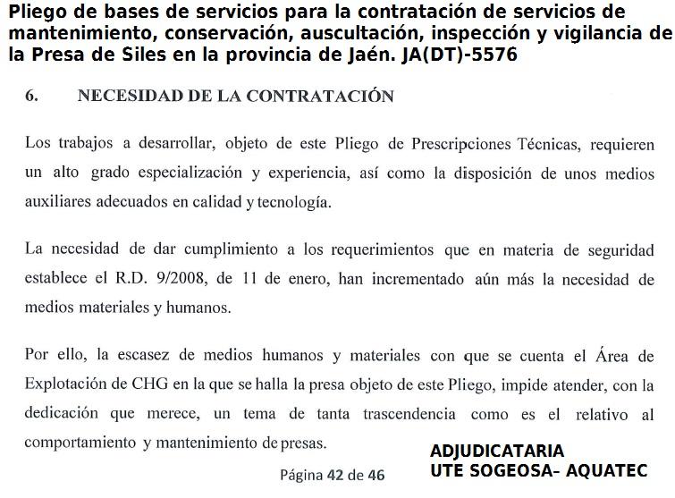 CHGUADALQUIVIR.- PLIEGO PERSONAL EXTERNO PRESA DE SILES