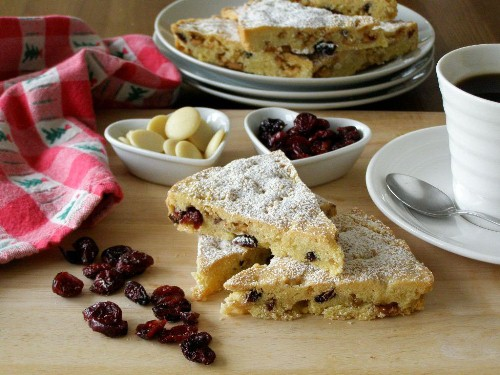 Vegan Cranberry White Chocolate Shortbread