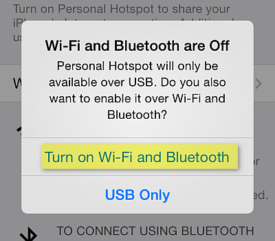 turn on wi-fi and bluetooth for iphone personal hotspot