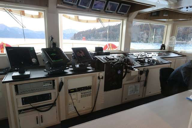 The view of the ship control deck room of the Hakone Cruise ship during cruising along Lake Ashinoko in Japan